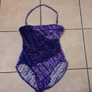 Mainstream Purple Layered One Piece Swimsuit